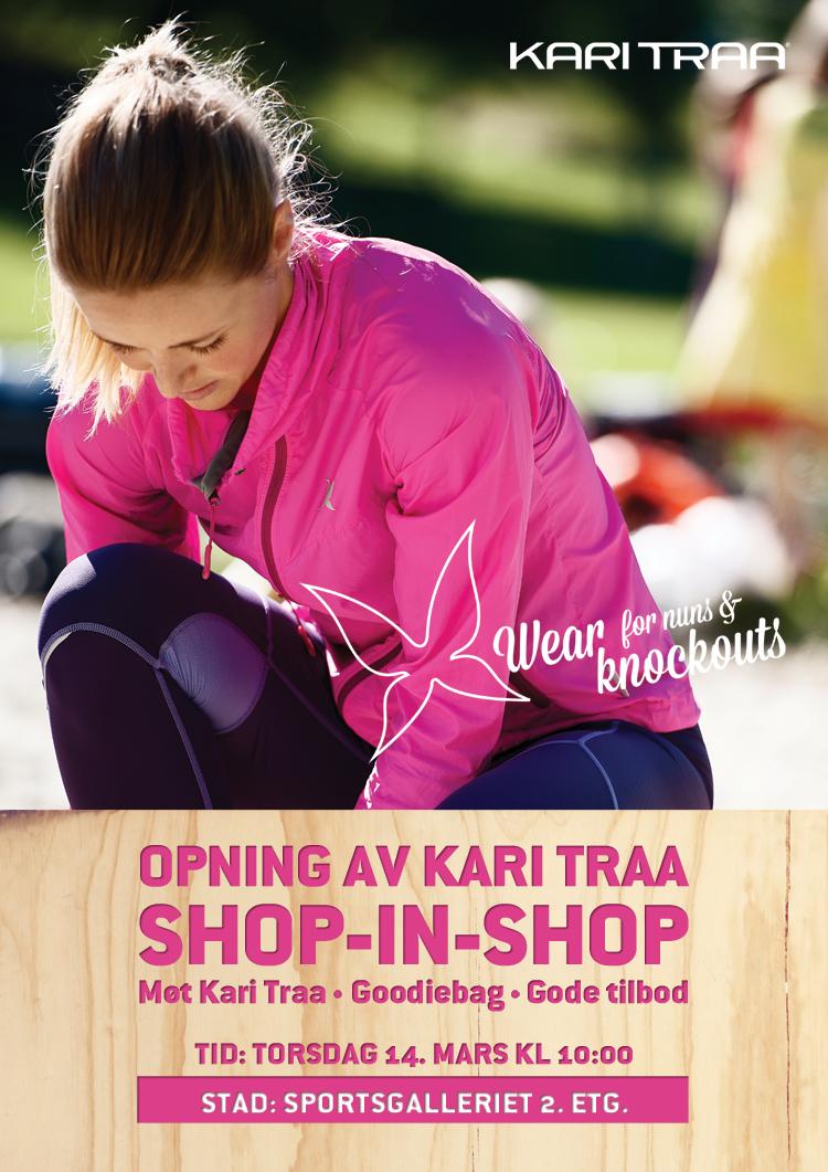 14. mars åpner Kari Traa sin første shop-in-shop i Norge på Sportsgalleriet i Bergen.