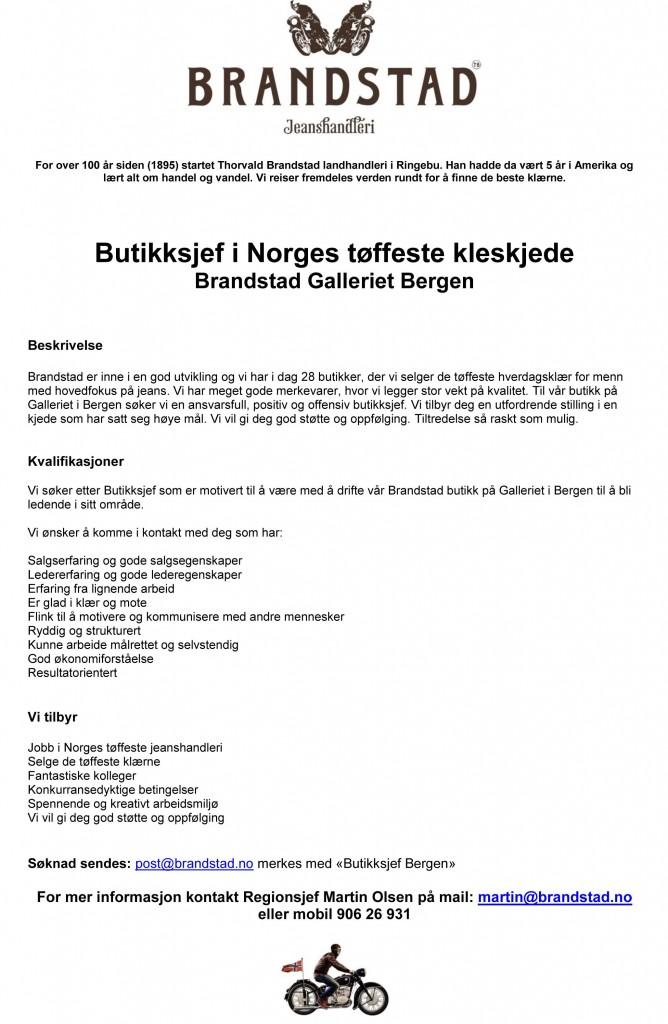 Butikksjef Bergen 2014