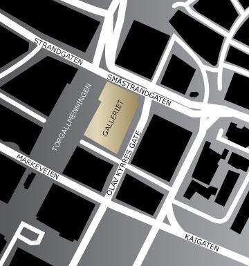 Kart over Galleriet i Bergen sentrum