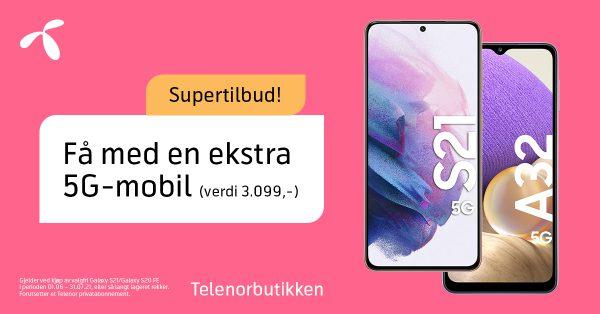 Supertilbud hos Telenorbutikken. Få med en ekstra 5G-mobil (verdi 3099,-). Enkelte forutsetninger for tilbudet.